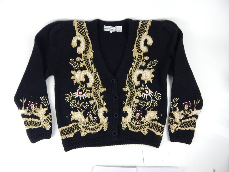 1980s 1990s Vintage Westbound Size Medium Cardigan Beaded Ladies Sweater