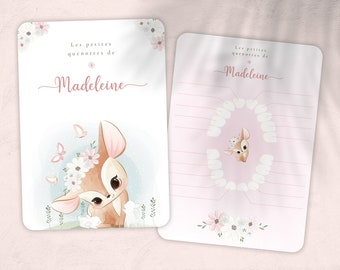 Baby tooth card, quenottes card, little mouse, small doe flower and butterfly pattern