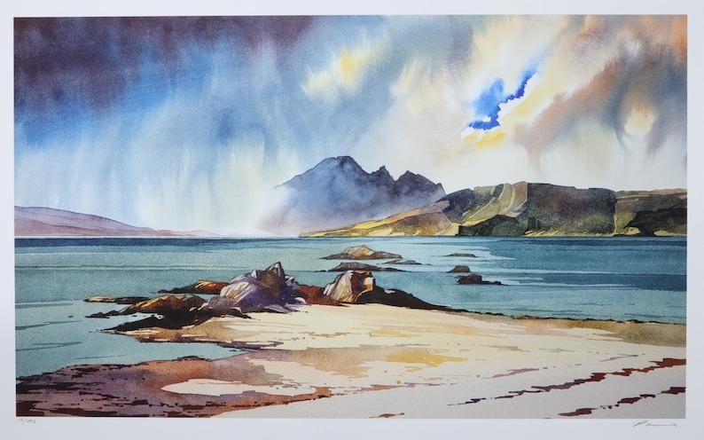 A break in the clouds  Ord beach  Isle of Skye image 0