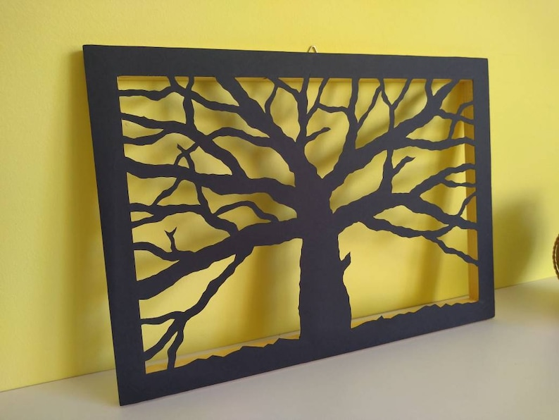 Modern New Home Gift Housewarming Gift Cardstock Tree On Wooden Frame Wall Decor Idea Unique Hand Cut Work Birthday Gift