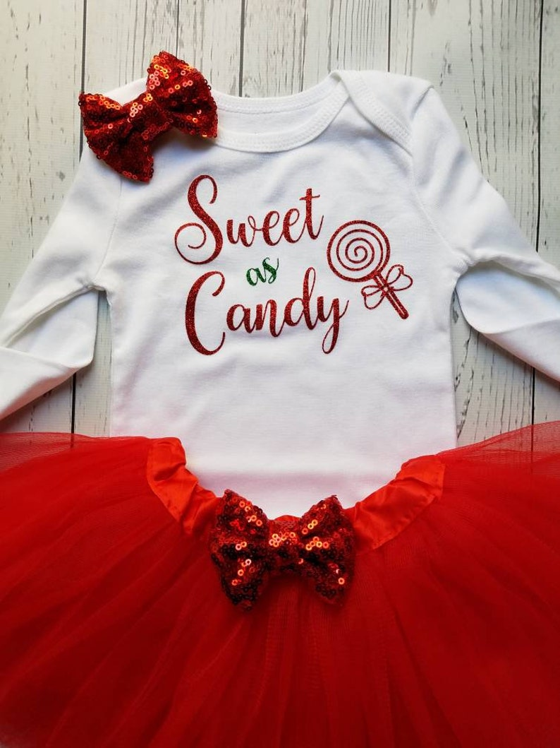 Sweet As Candy Baby Girl Christmas Outfit Sweet As Candy Onesie\u00ae Red and Gold Christmas Tutu Outfit Baby Girl Christmas Outfit