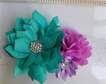 Baby Girl Teal and Purple Flower Headband