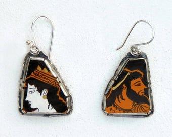 Zeus & Hera, Ceramic Erythromorph, Earrings, silver 925