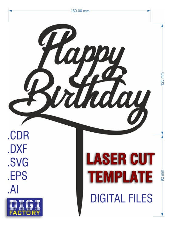 Happy Birthday Template Cake Topper Svg Digital Download