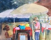 Original Watercolor, Antique Alley, Grandview, TX, Not a Print