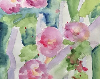 ORIGINAL. Pink Rose of Sharon Growing Against a Picket Fence, Original Watercolor Painting