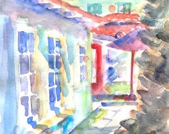 ORIGINAL. Secret Garden in Malaga Cove, Palos Verdes Estates, CA, Original Watercolor Painting