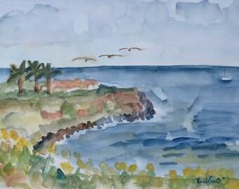 Not a Print, Ocean Overlook, Palos Verdes Estates, CA, Original Watercolor Painting
