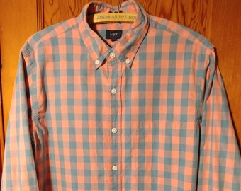 J.Crew Men's Button Down Shirt // Blue and Coral Plaid / Size Slim Medium / Made in Mauritius / 100% Cotton