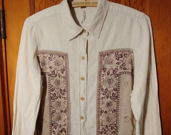 Free People Blouse // Prairie Peasant Style // Size XS X-Small / Cream and Flowers hippie bohemian