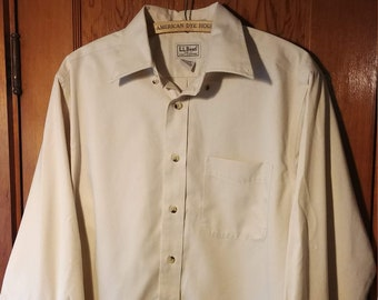 L.L.Bean Long Sleeve Men's Button Down // Cream Off-White Size Small Regular // Wrinkle Resistant Casual Formal 100% Cotton