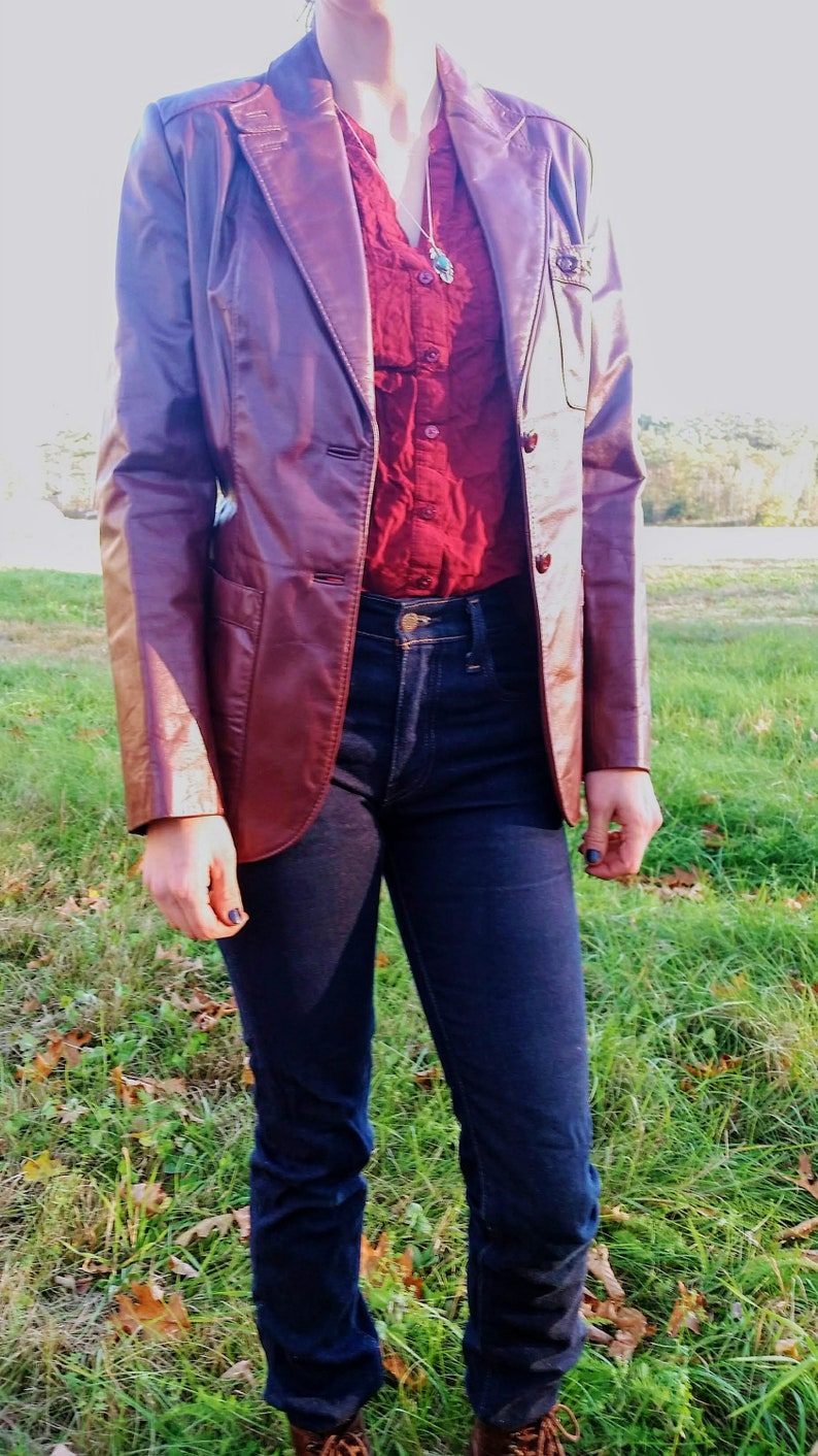 0285b72d1 SALE Phenominal 70's Etienne Aigner Genuine Leather Jacket // Size 10  Oxblood Red Brown Fully Lined / Amazing vintage condition