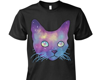 Cat Galaxy T-Shirt | Cat Lover Shirts, Cute Cat Tee, Space, Cat, Galaxy, Galaxy Tees, Tumblr, Hipster Tops, Grunge, Alternative, Graphic Tee