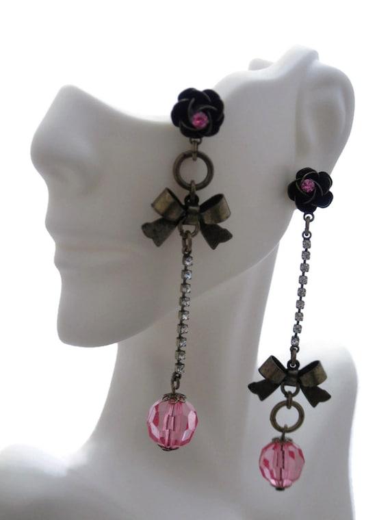 Brass Pink Glass Rhinestone Dangle Earrings