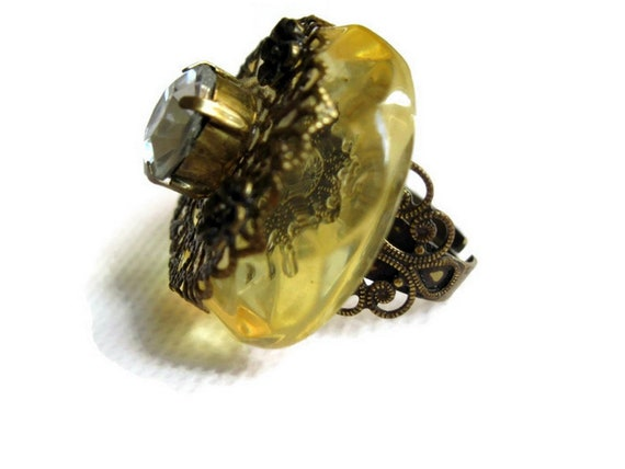 Vintage Art Deco Brass Rhinestone Faceted Lucite A