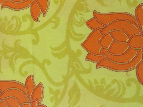 Green Orange Lotus Flowers Vintage Fabric Vintage Orange Etsy