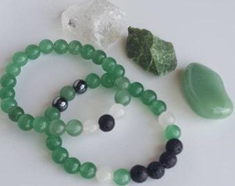 Aventurine Gemstone Stretch Bracelet |Gemstone Set | Yoga Bracelet | Essential Oil | Emotional Wellness | Good Luck & Positivity | Reiki