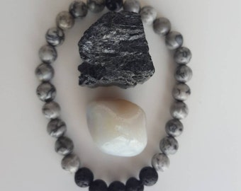 Gemstone Stretch Bracelet | 2 Gemstone Set | Yoga Bracelet | Essential Oil | Reiki | Emotional Wellness | Strength | Gray Network Stone
