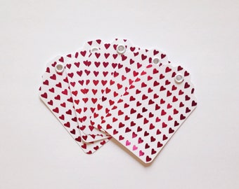 5 Foiled Heart Gift Tags