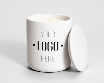 Private Label Candle White Concrete | Medio | corporate gift | business gift | custom | branded candle | logo candle | personalized candle