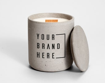 Private Label Candle Grey Concrete | Medio | corporate gift | business gift | custom | branded candle | logo candle | personalized candle