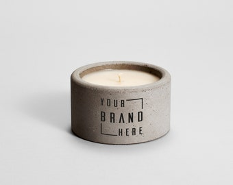 Private Label Candle Grey Concrete | Parvi | corporate gift | business gift | custom | branded candle | logo candle | personalized candle