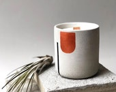 Natural soy candle with copper&black line, organic soy wax, candles in cement vase, beton, concrete, essential oils, handpoured, vegan