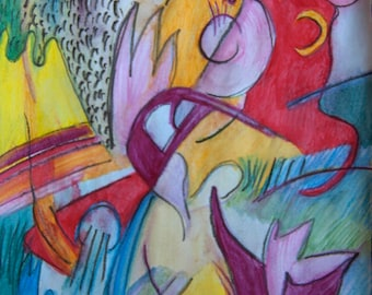 Abstract, original watercolor on paper, calid colors