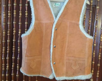 Vintage genuine leather hippie vest