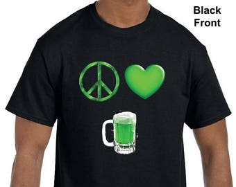 Peace, Love, and Beer. Perfect for St. Patrick's Day. Irish, Green Beer