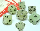 Grey Glow in the Dark Opaque Full 7 Piece Polyhedral Dice Set RPG, D D, Dungeons and Dragons, Roleplaying, Pathfinder, Halloween Dice