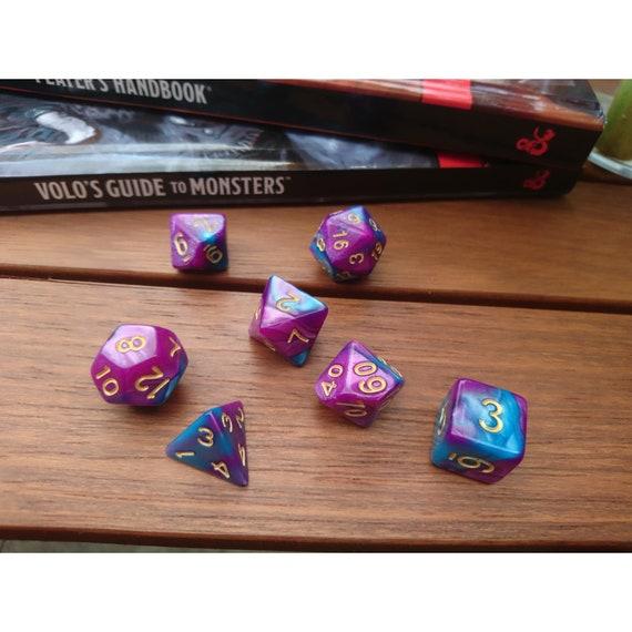Violet et bleu RPG 7 pièce dés polyédriques ensemble pour donjons et Dragons, Pathfinder, jeux sur table, DND