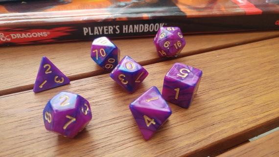 Effet marbre bleu et violet foncé RPG 7 pièce dés polyédriques ensemble pour donjons et Dragons, Pathfinder, jeux sur table