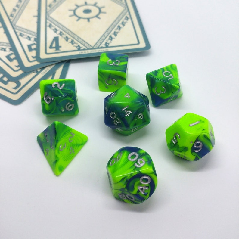 Acid Splash Spell Inspired Green and Blue RPG 7 Piece Polyhedral Dice Set  for Dungeons and Dragons, Pathfinder, Tabletop Games, Sorcerer