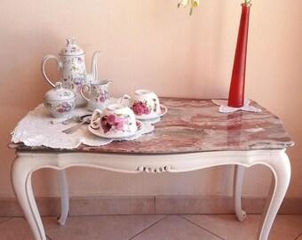 Tavolino Classico Legno Marmo Shabby