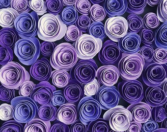 25 Handmade 3D Paper Flowers- Purple