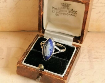 Art Deco Wedgwood Goddess Artemis Diana With Stag Ring 1921 Cobalt Blue Jasper Navette Cameo Sterling Silver, US: 8 UK- P.5 Antique Ring Box