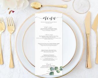 eucalyptus leaves wedding menu templaterustic wedding table etsy