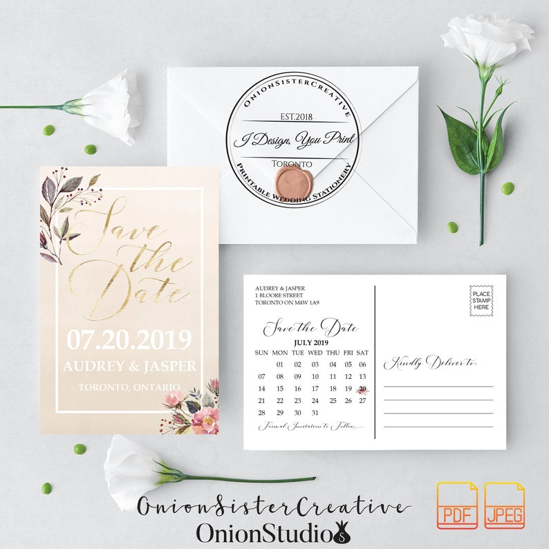 Printable Wedding Save The Date Cards,Rustic Save The Date ...