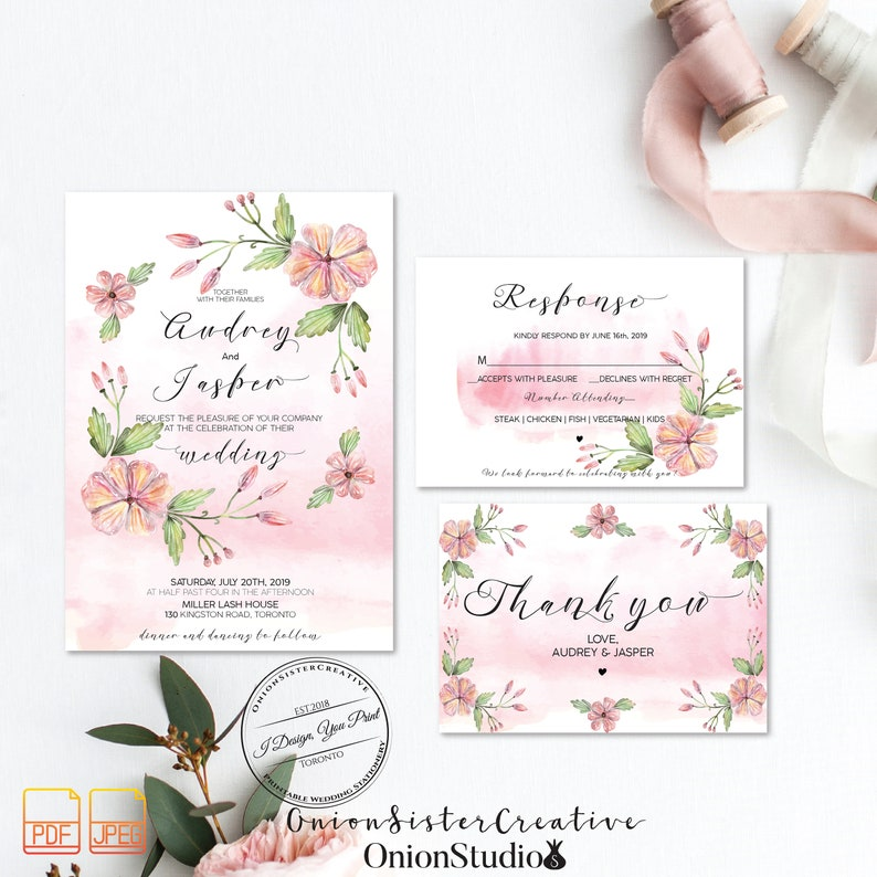 Blush Watercolor Wedding Invites,Boho Wedding Invitation Template,Printable Wedding Invitation Set,Rustic Wedding Invites,Script Font