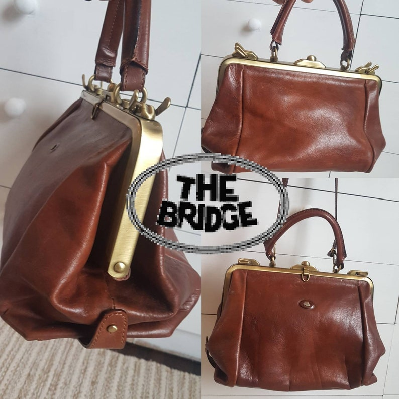 3b685fbd91 THE BRIDGE Leather Gladstone Handbag Shoulder Bag Top Handle | Etsy