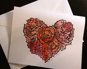 Floral Heart Embossed Linocut and Watercolor-Hand printed, embossed, and watercolor
