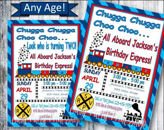 Train Birthday Invitation Chugga Choo