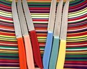 Vintage stainless steak knives Quikut steak knife set pastel steak knife set mid century steak knife set Fiesta steak knives