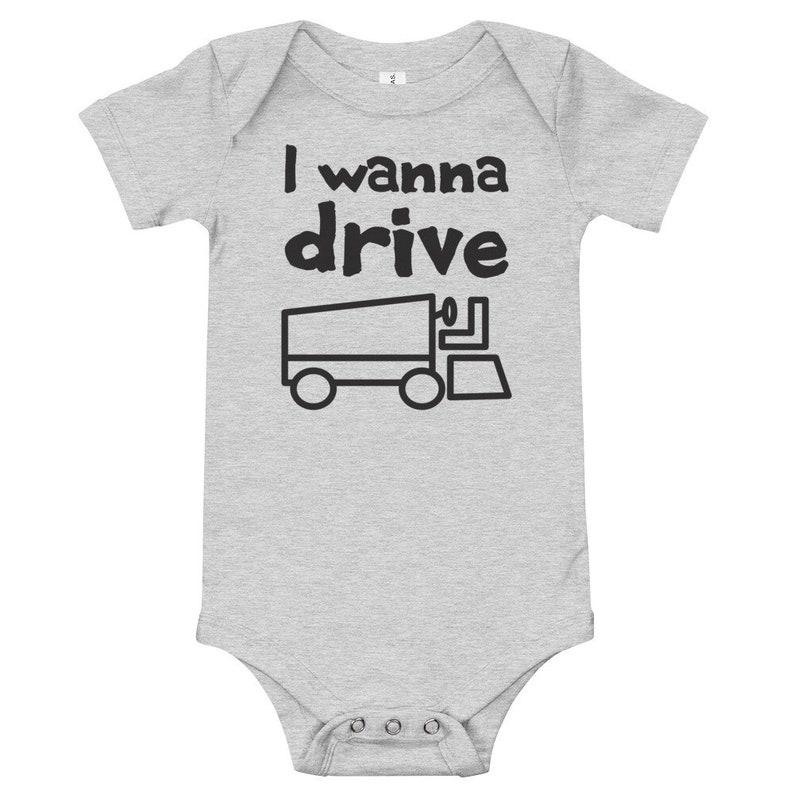 I Wanna Drive Zamboni Short Sleeve Baby Bodysuit T-Shirt