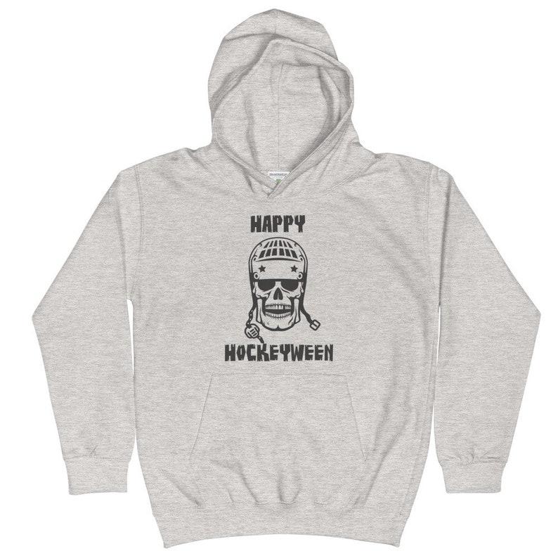 Happy Hockeyween Hockey Halloween Kids Hoodie Hooded Sweatshirt