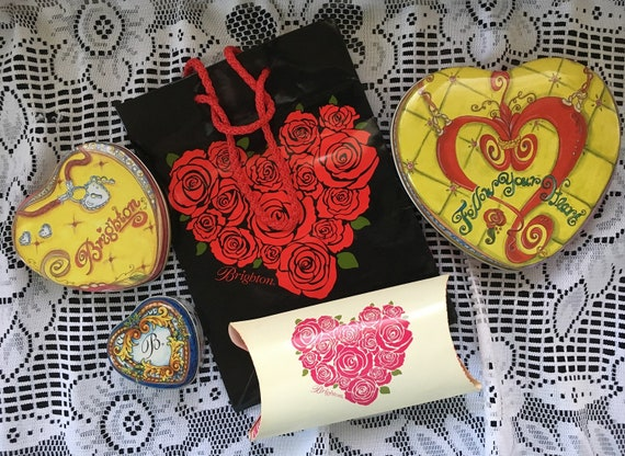 BRIGHTON Classic Black And White Tin Heart Valentine Gift Boxes 1 Large 1 Small