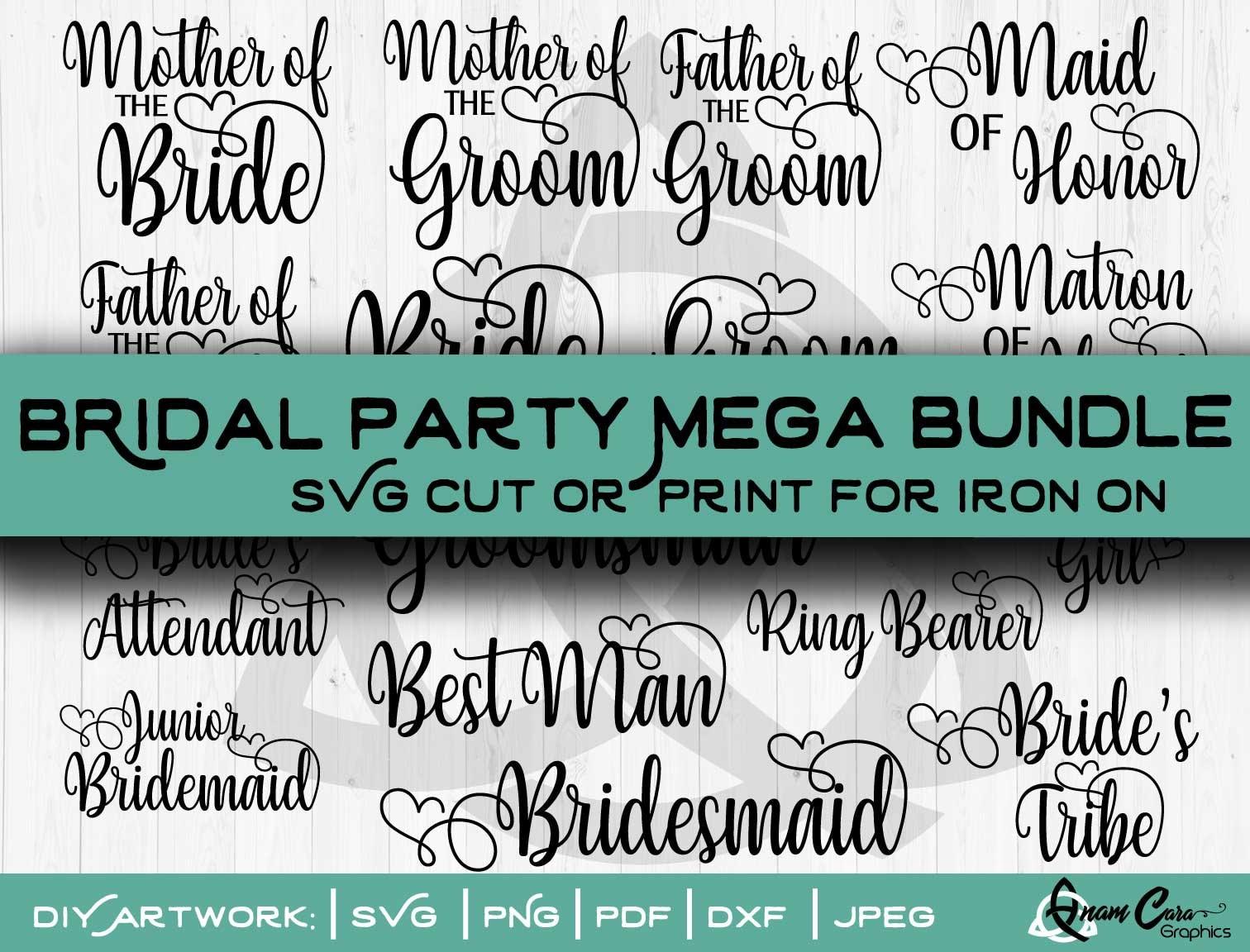 SVG   16 Wedding Bridal Party Designs   Cut or Print   Cricut Iron On  Tshirts Bridal Party Wedding Clipart Modern Love Heart Clipart Bride