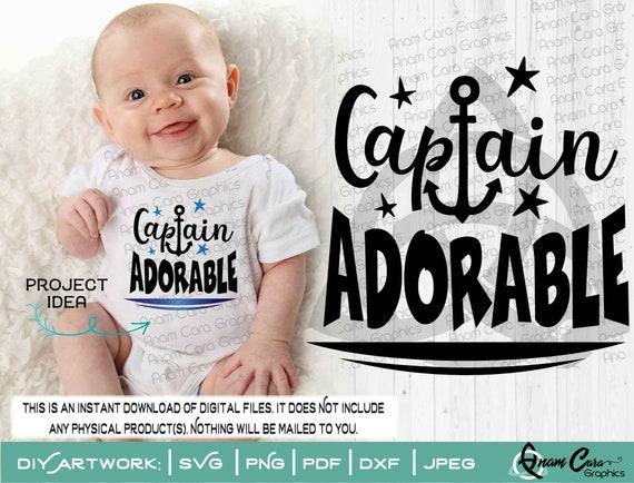 Svg Captain Adorable Cut Or Print Diy Art Cute Fun Baby Etsy