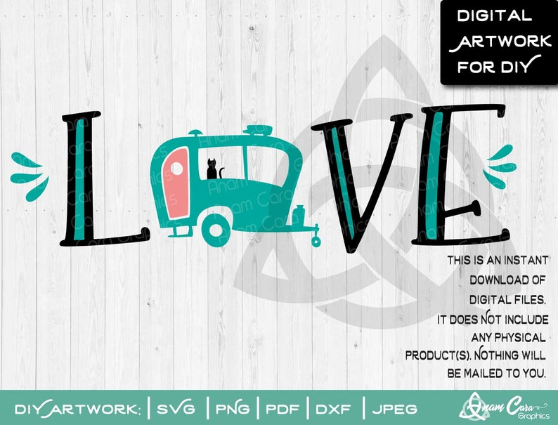 SVG Love With Vintage Camper | Cut or Print DIY Art Camping Life Glamper  Glamping Caravan RV Retro Sign Tshirt Vinyl Decal Wall Decor Family